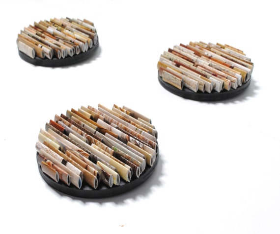 set of 3 small round neutral colored wall art- made from recycled magazines, colorful, unique