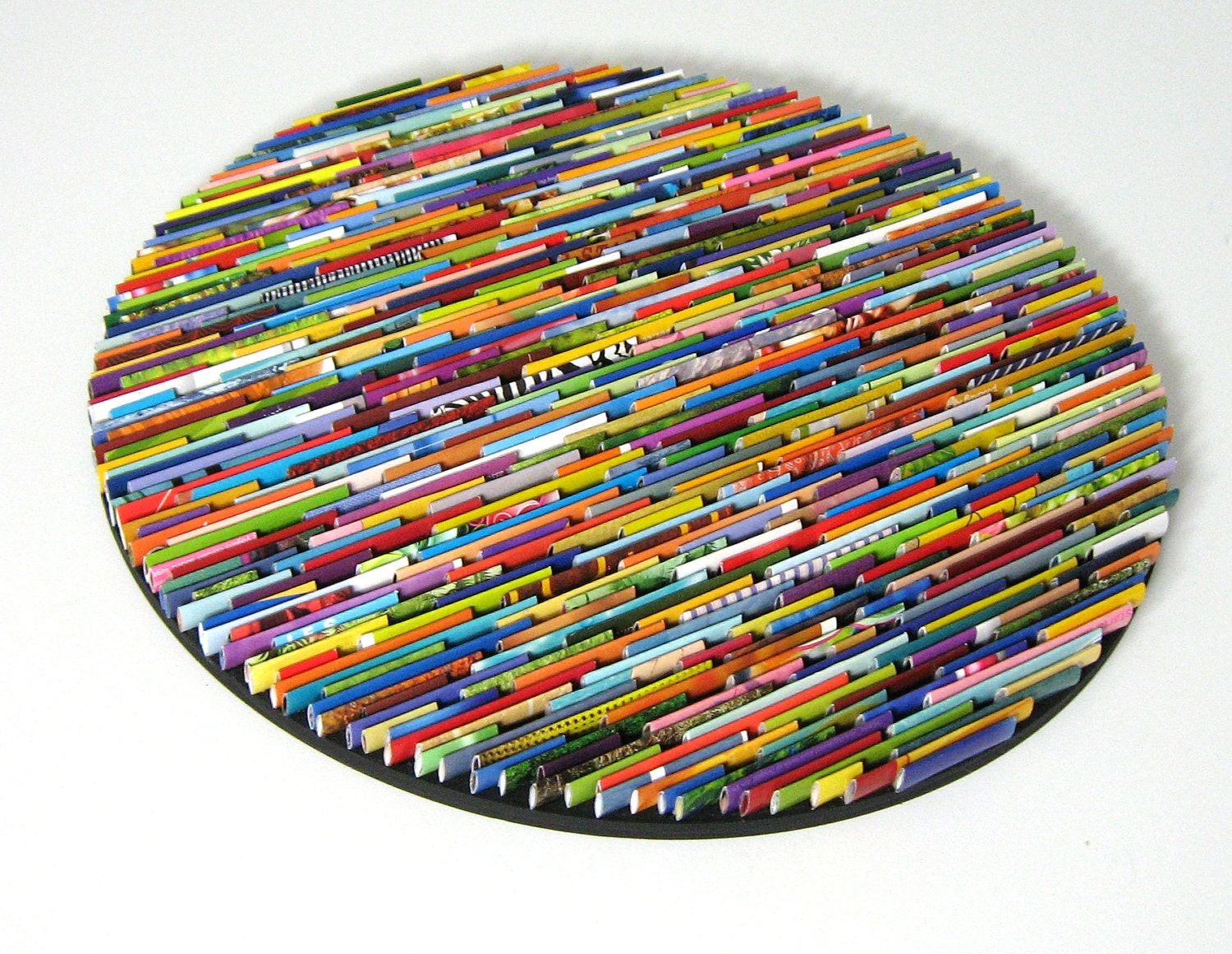 Bright and colorful round wall art made from recycled Colorful wall decor