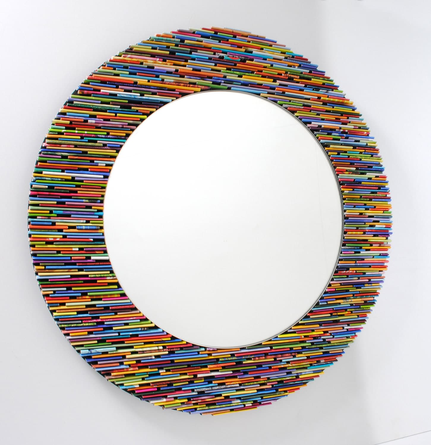 Colorful 18 inch diameter bright round mirror wall art made for Miroir design rond