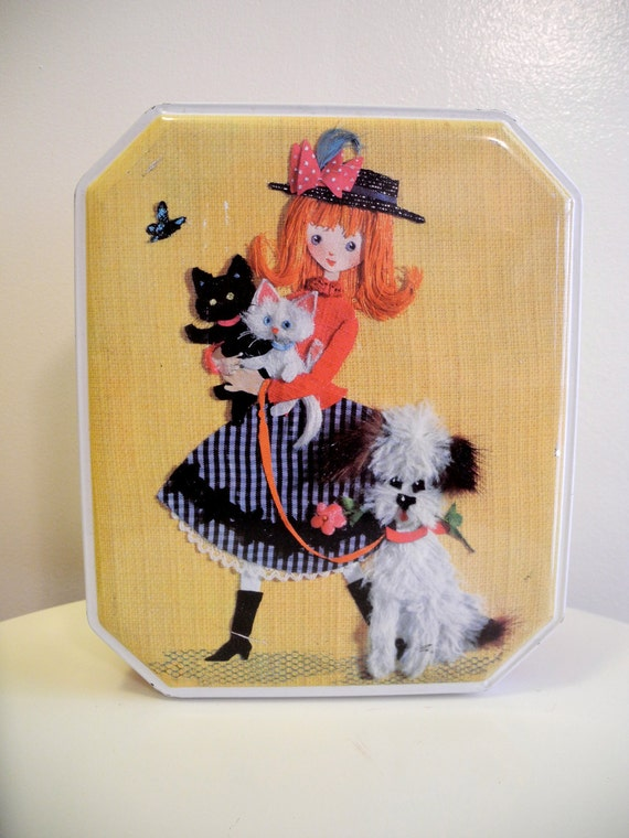Adorable vintage 60s biscuits tin with girl puppy and kitty