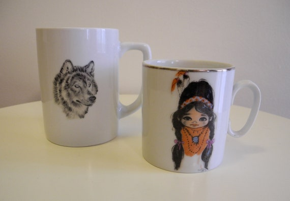 Set of two SOUTHWESTERN mugs with mystical wolf and adorable indian girl