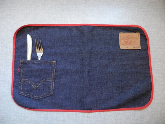 Set of TWO Levis Big E denim 70s placemats with pocket