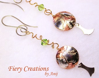 "Ear Buttons - ""Abstractions"" - Silver, Copper, Brass, engraved  dangle earrings with Crystal"