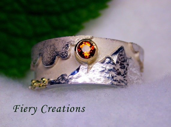 """Earth Ring or """"Ring of the 4 Elements"""" - Sterling Silver, 18k yellow Gold, fiery faceted Citrine"""