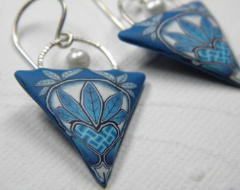 Heart Weave Millefiori Polymer Clay Earrings with Freshwater Pearls