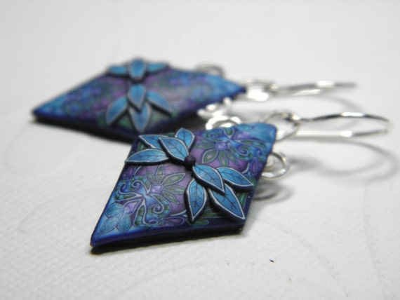 Earrings in the Millefiori Style of Polymer Clay Diamond Shape with Applied Leaves