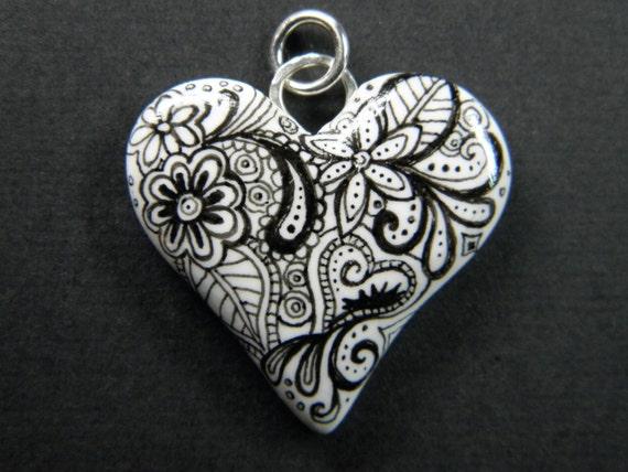 Dede's Doodle Art Heart Pendant