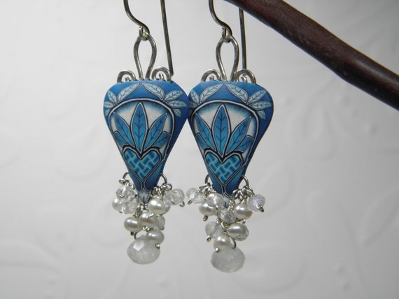 RESERVED-Millefiori Polymer Clay Heart Weave Dangle Earrings with Moonstone and Pearls