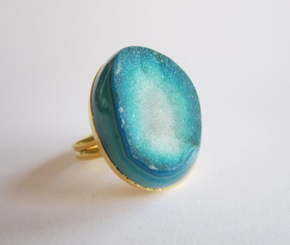 OOAK Blue Druzy Ring Gold Vermeil Statement Ring