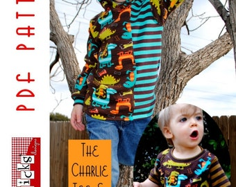PDF Sewing Pattern:  The Charlie Tee & Hoodie Infant-Toddler (Instant Download)