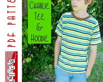 PDF Sewing Pattern:  The Charlie Tee & Hoodie Big Kid Sizes (Instant Download)