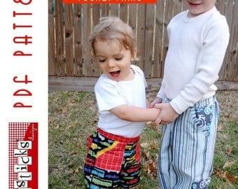 PDF Sewing Pattern:  The Inside or Out Pocket Pants Infant - Toddler (Instant Download)