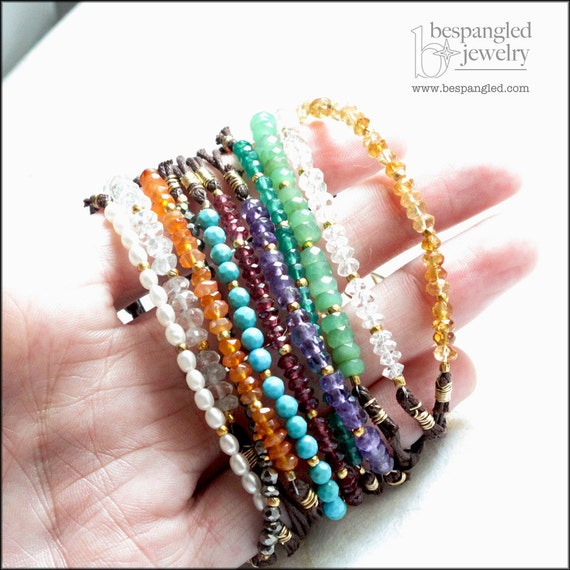 Stackable Multicolor Gemstones (Your Choice of Color) Knotted Brown Cord Bracelet - Yoga Jewelry