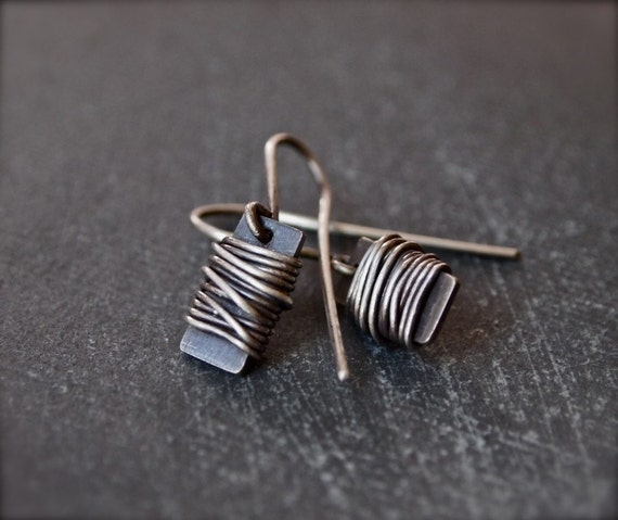 Petite, funky and unique sterling silver wire wrap earrings