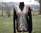 SALE Vintage Chocolate Striped Mens Button up V-neck Cardigan Sweater Wool 50s women Unisex Medium Large
