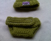 Green Wool Crocheted Hat and Diaper Cover Set