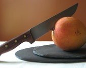 SET of 2 Dark Gray OVAL Salvaged SLATE Placemats / Platters with Eco-Backing - Wedding, Housewarming, Host Gift