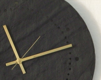 MINIMALIST WALL CLOCK> Gray Salvaged Slate Father's Day Large Hanging Clock—Wedding Registry Housewarming Gift—Horloge Ardoise/Reloj Pizarra