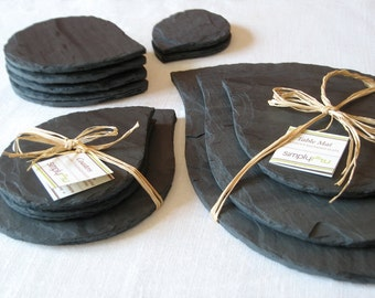 WEDDING Leaf COLLECTION Black Purple Salvaged SLATE Tableware with Eco-Backing—Registry, Housewarming [Ardoise vaisselle/Vajilla Pizarra]