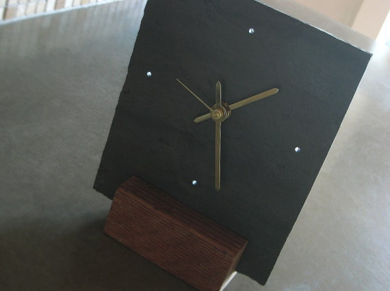Small Salvaged SLATE & Reclaimed WOOD Tabletop Clock - Father's Day, Housewarming and Wedding Gift