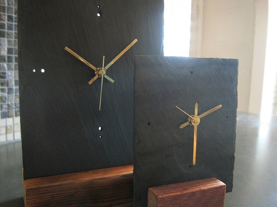 Medium Salvaged SLATE & Reclaimed WOOD Tabletop Clock - Father's Day, Housewarming and Wedding Gift