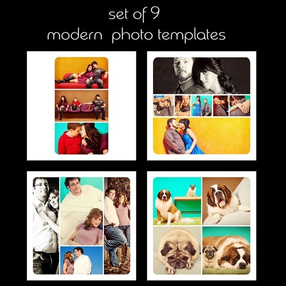 Modern Set, 9 Rounded and Squared Photo Album\/Collage\/Soryboard Templates