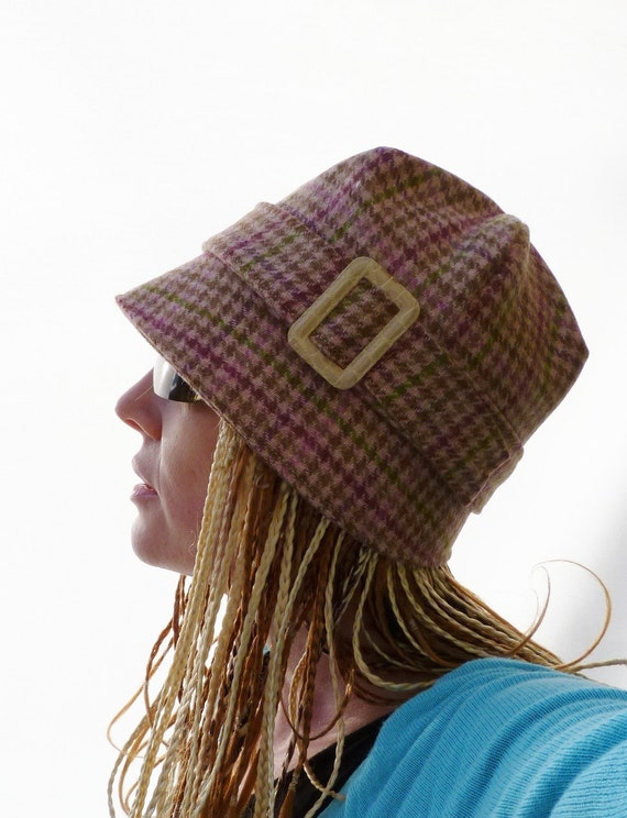 One of a Kind - Womens Hat - Tweed Cloche Hat - Houndstooth Tweed - Pink/Beige/Green - size medium