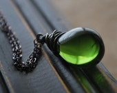 Moss Winds Necklace- Olive Green Glass Teardrop on Oxidized Sterling Silver Chain