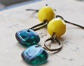 Earrings, Emerald Green and Canary Yellow Czech Glass on Antiqued Brass