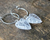 Crackled Clear Czech Glass Hearts on Sterling Silver Handmade Hoops - Awakened Love Earrings