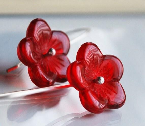 Crimson Poppy Earrings- Czech Pressed Glass Flower on Hand formed Sterling Silver Elongated Earwires