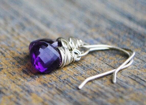 Petite Amethyst Earrings - AAA Grade Amethyst Heart Briolette on Sterling Silver