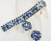 Vintage Dazzling Shades of Blue Rhinestone Bracelet and Earring Set