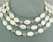 Vintage Signed WESTERN GERMANY White Glass and Crystal Necklace