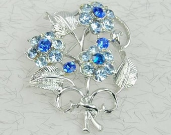 Vintage Signed CORO Shades of Blue Rhinestone Floral Brooch