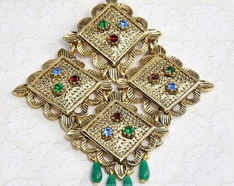 Vintage Signed SARAH COVENTRY Temple Lites  Brooch