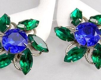 Vintage Huge Blue and Green Rhinestone Flower Earrings