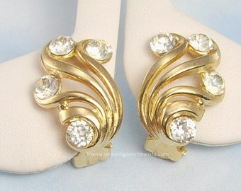 Vintage Signed CROWN TRIFARI Rhinestone Tipped Swirl Earrings