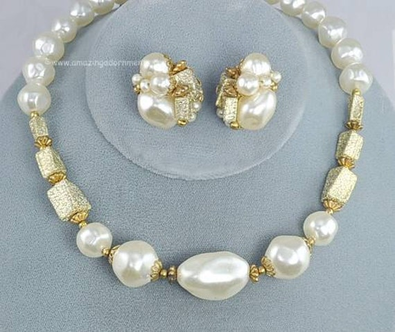 Vintage Signed JUDY LEE Faux Pearl Necklace and Earring Set