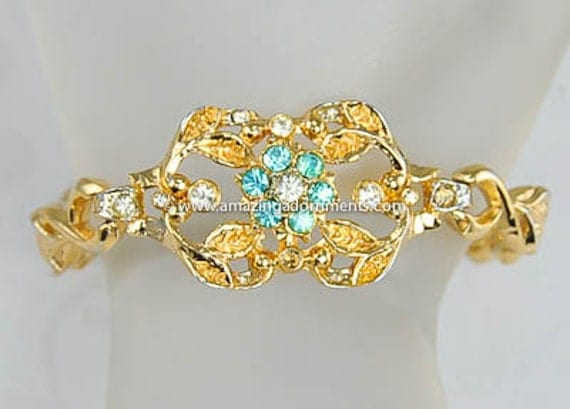 Vintage Signed CORO Aqua and Clear Rhinestone Bracelet