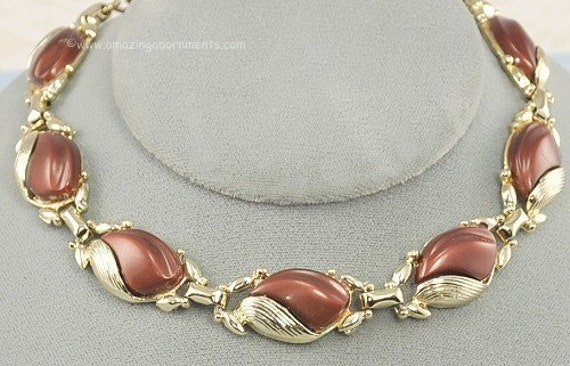 Vintage Signed CORO ca. 1950s Satiny Brown Thermoplastic Necklace