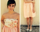 Strapless Peach Party Dress, Peach and White Floral in size Medium