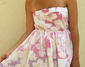 Spring/Summer Dress-Pink/Purple Floral Print-Size Small
