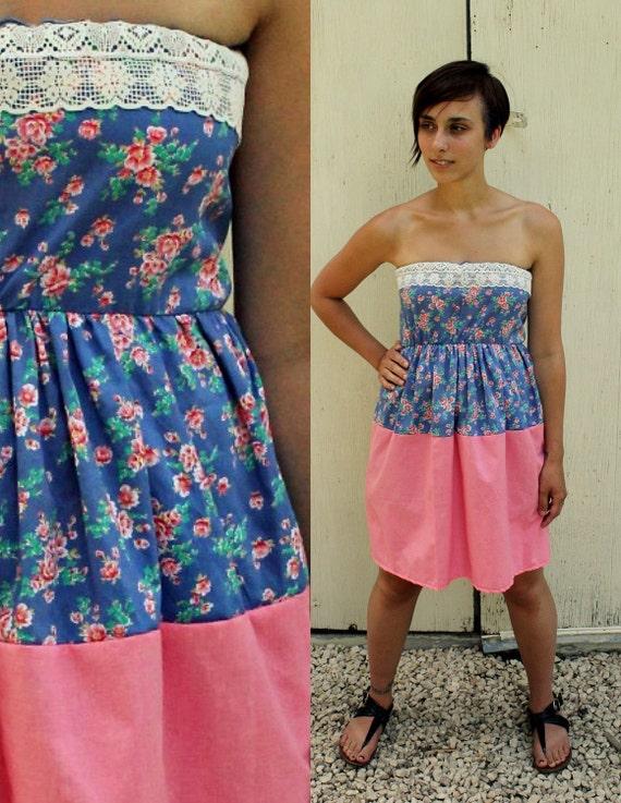RESERVED for Kristin - Cupcake Dress, Spring Dress, Summer Dress, Strapless Dress, Fancy Dress, Floral
