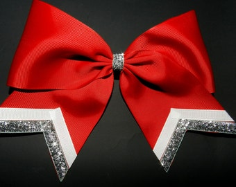 "3"" Texas Size Cheer bow - single layer - trimed ends -  squad discounts red silver white"