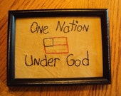 Primitive Stitchery Sign Picture One Nation Under God
