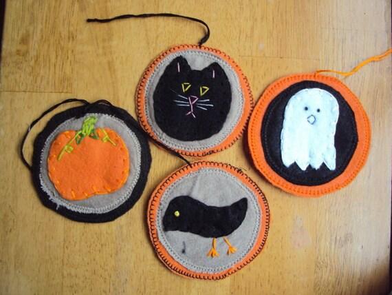 Halloween Ornament Set Pumpkin Cat Ghost Crow - Free Shipping