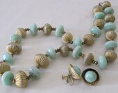 vintage Celadon Glass Bead Necklace and Earring set by Sarah Coventry