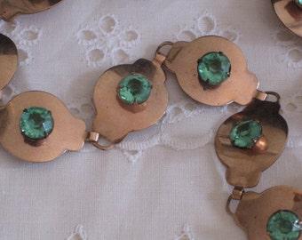 vintage Copper Necklace set with Emerald Stones