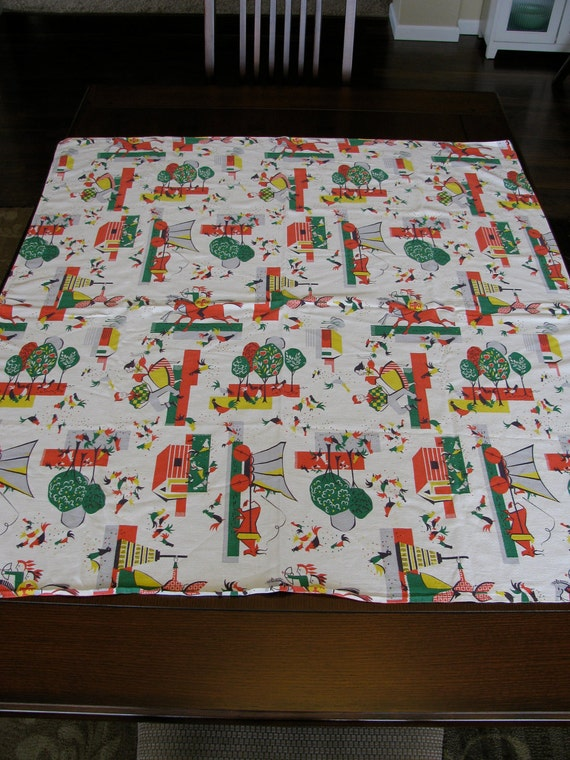 Vintage Mid Century Style  Farm Chick Tablecloth Ho-down Barn Dance Wagon and Ox Chickens and More